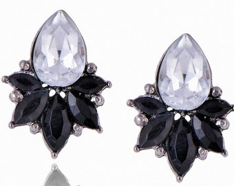 Stud Earrings black Rhinestones Swarovsky Crystals flower clear as Diamont punk push back transparent Opal