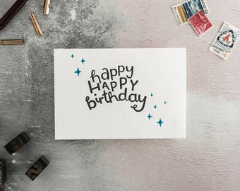 Happy Happy Birthday Letterpress Card