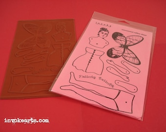 Lg Flutterby Paper Doll / Invoke Arts Collage Rubber Stamps / Unmounted Stamp Set