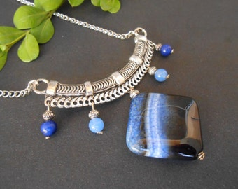 Blue Agate Chandelier Necklace Long Agate Pendant & Earrings Jewelry Set Blue Gemstone Jewelry Boho Jewelry Banded Agate PRIORITY MAIL
