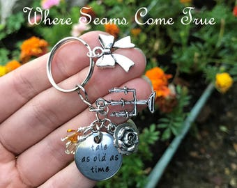 Beauty and the Beast Quote Keychain (Tale as Old as Time)