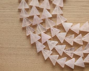 10 pcs of Natural Rose Quartz Triangle Gemstone Beads