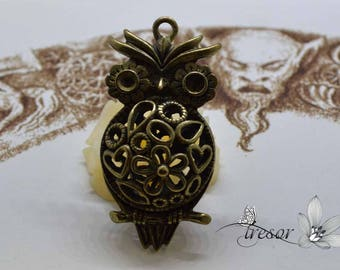 1 pcs QDW276 Metal Bronze, bird, OWL pendant