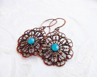 1/2 price sale -Copper Lace Earrings with Turqoise Blue Swarovski Crystal