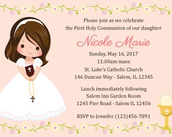 First Communion Invitation - Girl  (Digital File) / 1st Communion Invitation - Communion Invitation - Primera Comunion