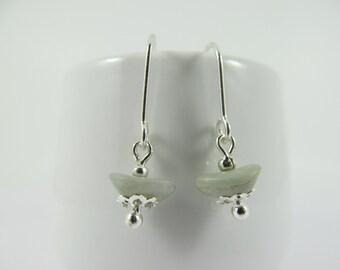 Soft Grey Miyuki Glass Vintage Bead Drop Earrings