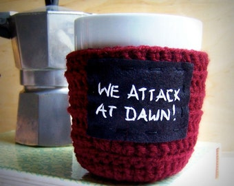 Coffee Mug Cozy Tea Cup burgundy red black white crochet handmade cover