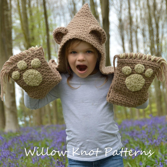 Crochet Pattern The Bramble Bear Hooded Scarf Toddler Child Teen