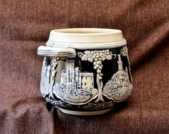 Vintage Scenic GERMAN Two-Handled Ceramic Pot