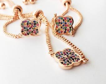 Lucky bracelet, clover bracelet, four leaf clover bracelet, colorful zirconia bracelet, lucky clover charm bracelet, rose gold bracelet,