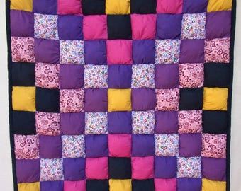 Purple, pink, yellow patchwork quilt or baby play mat