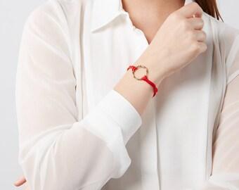Bridesmaid gift red bracelet. Silver circle charm bracelet. Unisex bracelet. Silk cord bracelet. Boho gift. Gift for partner. Silk gift.