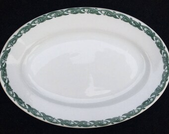 "Shenango Diner Restaurant Hotel China 8-1/4"" x 5-7/8"" Oval Platter with Green Band of Lilies and Leaves"
