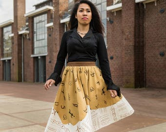 Skirt Orcher and Light brown multi sym