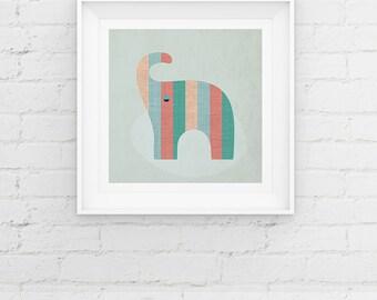 Elephant Nursery Giclee Art Print, Scandinavian Style Animal, Mid Century Modern, Baby Decor