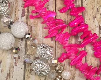 Mixed Lot 4 Strands Loose Beads, Jewelry Making, Hot Pink Sea Shell Bracelet Beads, White Silver Necklace Beads Craft Beads DIY String Beads