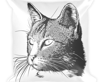 Black Cat Pillow, Square White Pillow With A Black Cat Design. Gift For Those That Love Cats, Cat Moms, And Cat Dads Too.