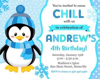 Penguin, Winter, Snow, Birthday Party Invitation - Printable or Printed
