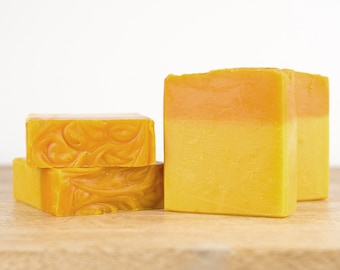 Pineapple Coconut Fragranced Soap Bar - Handmade Vegan Soap Naturally Coloured with Yellow Saffron - Palm Oil Free Soap Made in Australia