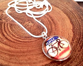 Bicycle Charm - Dime coin Bicycle Charm Pendant - Bike Necklace - coin pendant, bicycle necklace