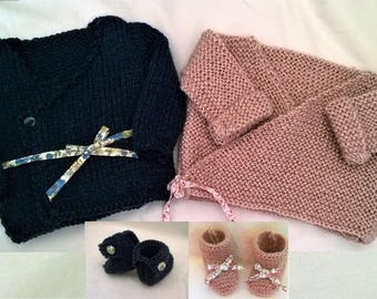 Set of 2 bras and slippers in wool