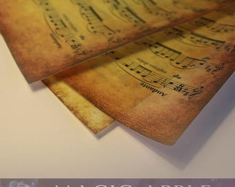 Vintaged Classic Music Sheet -Printed wafer paper - set of 3 sheets