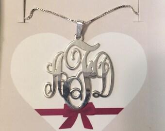 Monogram Necklace, Silver Monogram Necklace, Script Monogram Necklace, Gold Monogram Necklace, Rose Gold Monogram Necklace, Bridesmaid Gift