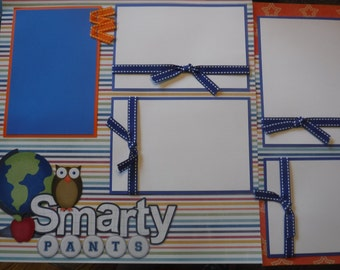 School Smarty Pants Creative Premade  12x12 Scrapbook Pages for your FAMILY  Boy GIRL