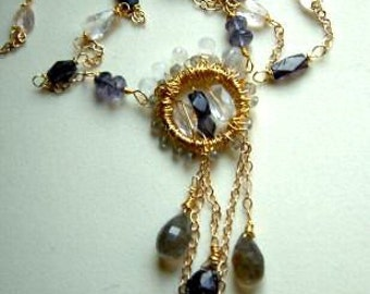 Iolite Moss-Amethyst Morganite Moonstone Gold Necklace by designs on benbecula