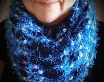 Navy BabyAlpaca an premium Merino wool scarf with light blue with yellow/Pink medley