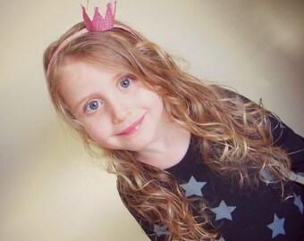 Pink Crown Headband/ Pink Glitter Crown/ Princess Crown/ Girl Birthday Crown/ Pink Birthday Crown