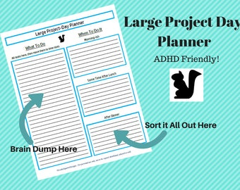 Large Project Day Planner/ ADHD Planner/Daily Planner/ Project Schedule/ Project Planner/ Mind Map Plan/Home Binder Pages/ Task List/ PDF