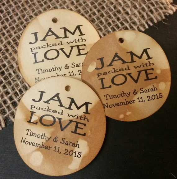 Jam Packed with Love Personalized Wedding Favor MEDIUM tag choose your amount