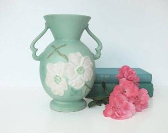Weller Matte Green Dogwood Vase Art Pottery Mantle Vase
