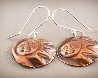 Copper Sunburst Sun Face Earrings, Round Embossed Earrings, Dangle Earrings, Boho Earrings, Gypsy Earrings, Gift for Her, Hammered Copper