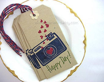 Hand Carved Original Design Say Cheese Camera and Hearts Gift Tags, Set of 5, Kraft, Red, Camera, original art stamp, pretty packaging