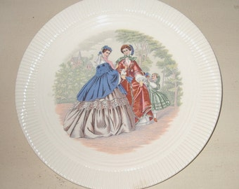"""Godey Victorian Fashion Ladies Decorated Salem Ohio China 8"""" Decorative Plate Item #438 Collectibles"""
