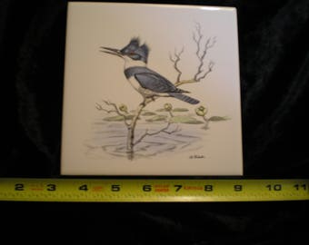 Vintage 1970s Ceramic Bird Tile - Kingfisher    Can be sold Individually