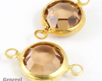 39ss Gold/Light Colorado Topaz Rhinestone Connector (10 Pcs) #XSR106
