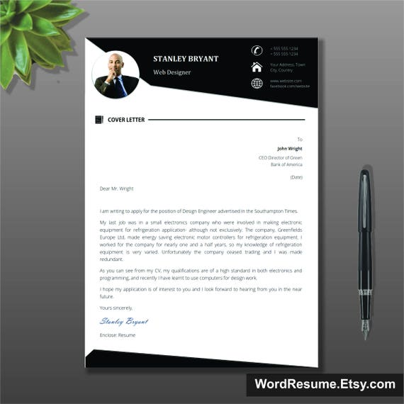 Modern Resume Template WIth Photo Cover Letter CV Template