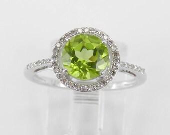 Diamond and Peridot Halo Engagement Ring 14K White Gold Size 6 August Gemstone