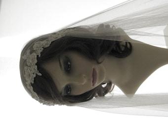 1920s style wedding  veil -  couture bridal cap veil - lace Juliet cap veil  - Calais