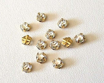 3.9mm Clear Flatback Swarovski Rose Montees, Gold Plated Mounted Rose Montees, Lot of 12 (12 pieces), SS16, Sew On Rhinestones, 2028/2058,