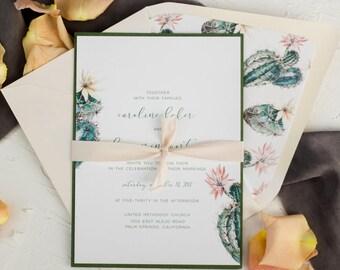 Wedding Invitations Cactus, Succulent Invitation Set, Desert Wedding Set, Blush Invitation Suite, Custom Wedding Invites, Printed Invitation