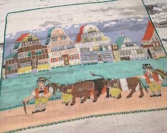 Souvenir Handkerchief, Novelty Hankie,  Bavarian, Tyrol Handkerchief, Vintage Hankies, Vintage Handkerchiefs, Cow Hankie,