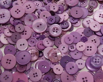 50 Buttons Lilac, Orchid ,  ASSORTED Size Mix Crafting Jewelry Collect (1498)