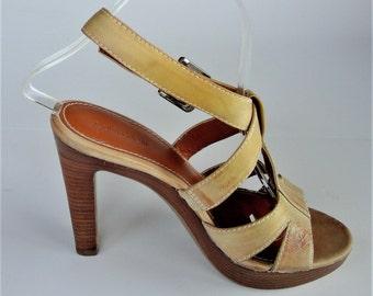 Vintage Calvin Klein Platform Leather Strappy Tan Sandals  - Size 7 1/2 M