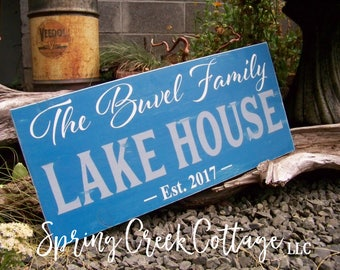 Lake House Signs, Personalized Anniversary Gifts, Wedding Signs, Established Signs, Handpainted Wood Signs, Lake House, Housewarming Gift