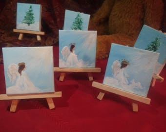 "Miniature Angel Painting with Easel 3""x3"" (A2)"