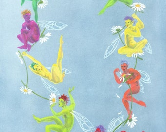 SALE! - 'Daisy Chain' - signed fairy art print
